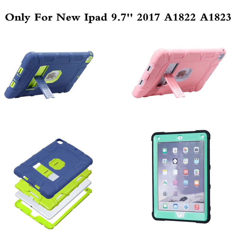 For Apple iPad 9.7 Inch 2017 Case Cover Kids Safe Shockproof Heavy Duty Armor Rugged Drop Resistance 3 IN 1 Silicone Hard Case for amazon 2017 new kindle fire hd 8 armor shockproof hybrid heavy duty protective stand cover case for kindle fire hd8 2017