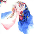 160*50 см Бесплатная доставка новый 2017 долго Корейской моды цветок печати шифон шарф женщин зимние шарфы платки обертывания