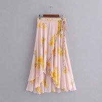 2019 Summer Women Floral Print Flowing Sarong Bohemian Skirt Casual Front Crossover Hem Asymmetric Ruffle Maxi Skirt
