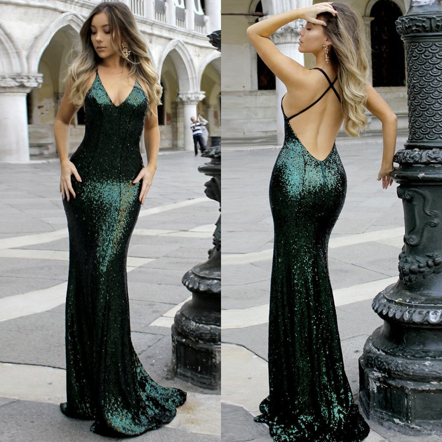 Dark Green Sequin Mermaid Evening Dresses 2019 V neck Open Back Formal Party Gowns Prom Dress Robe De Soiree in Evening Dresses from Weddings Events