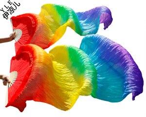 Image 4 - 2016 Hot sale women 100% real silk belly dance fan veils of belly dance fans rainbow color 180*90cm