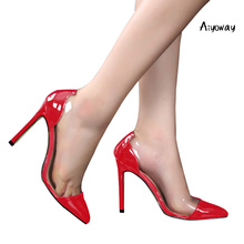 цена на Aiyoway Women Shoes Pointed Toe High Heels Pumps Clubwear Party Shoes Slip-On PU&PVC Patchwork Sexy Thin Heels Red Black Blue