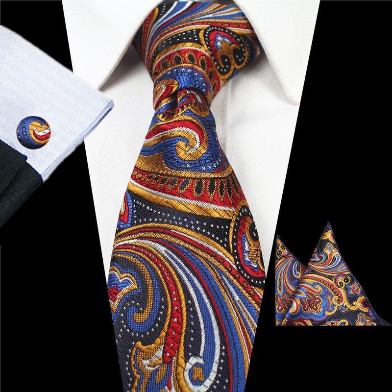 USA Silk Men Tie Necktie Set Red Blue Black Floral Hanercheif Cuflinks Wedding