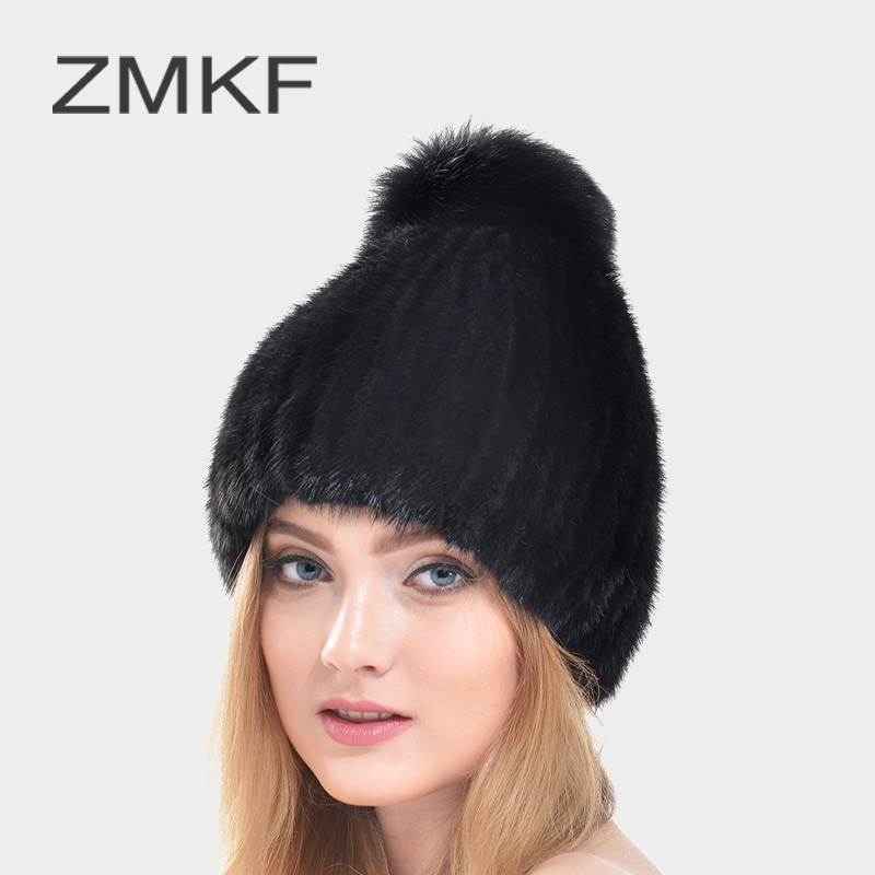 2017 ZMKF Women's Winter Hat New Real Mink Fur Pom Fluffy Ball Hat Cap Fox Fur Ball Mink Fur Fashion Russian Cap Hat For Women 12cm real mink fur ball keychain on the keys fluffy real fur pompom car for couples fur ball key chains fur cap beanie
