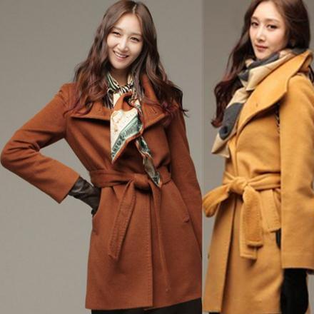 Invierno y otoño Moda de un solo pecho abrigo de lana para Mujer caliente de la chaqueta larga con cinturón