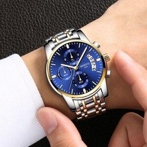 Image 5 - NIBOSI Gold Uhr Chronograph Sport Uhr Männer Business Wasserdichte Quarzuhr Relogio Masculino Mann Military Herren Uhren Uhr