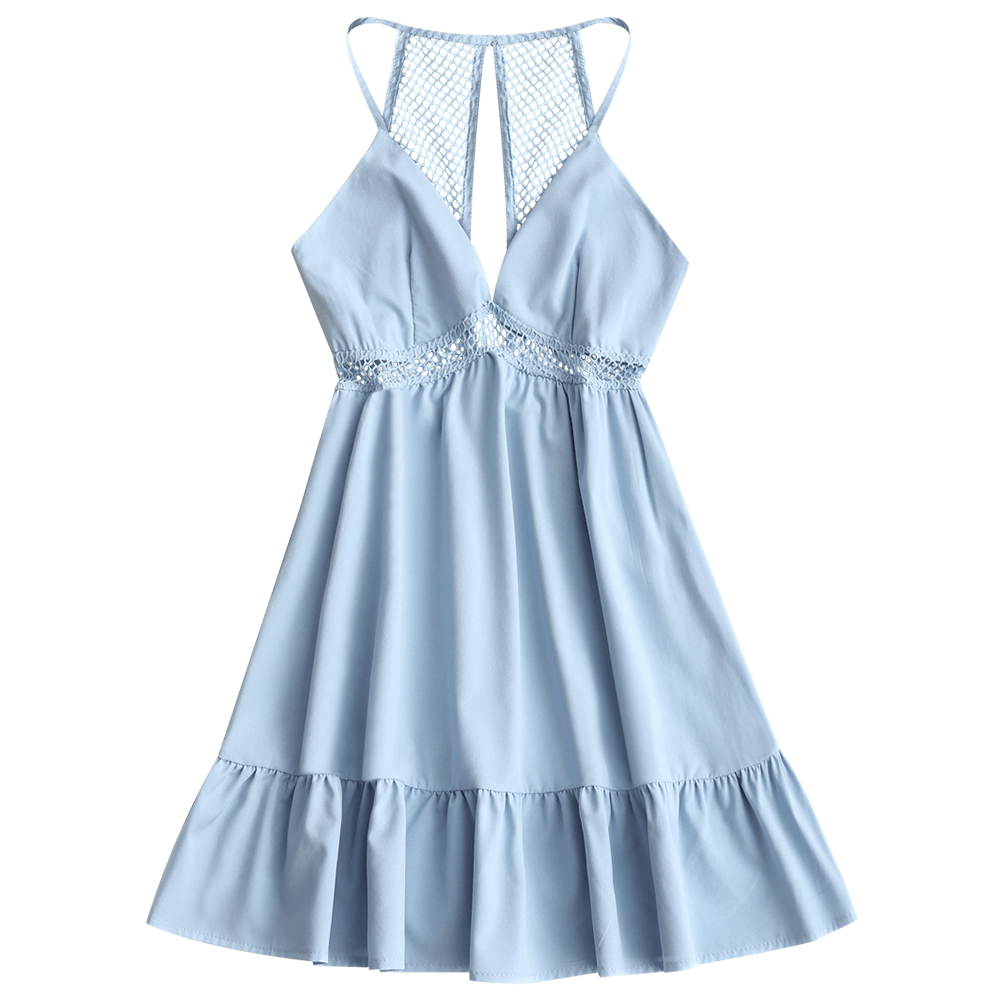 a977e586c8b ZAFUL Beach Dress Women Back Slit Lattice Frilled Mini Dress A Line Flounce Low  Cut Beach Tunic Hollow Out Open Back Cover Ups-in Cover-Ups from Sports ...