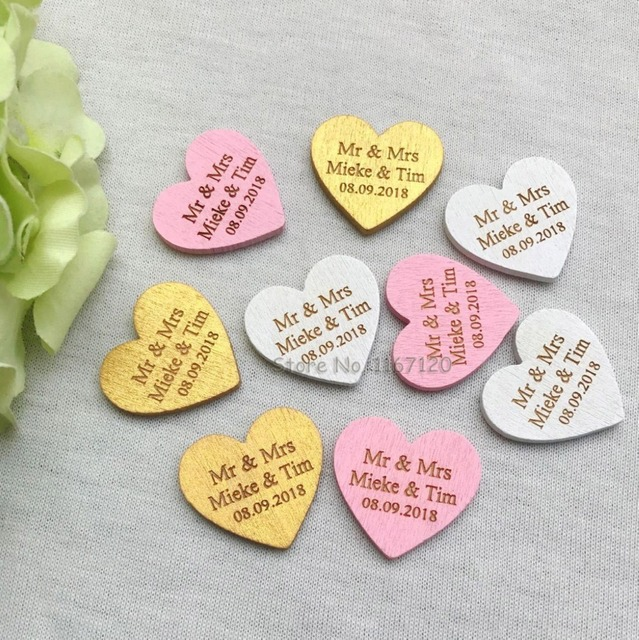 50200pcs personalized engraved wedding name date wooden love heart tags bridal shower favors table