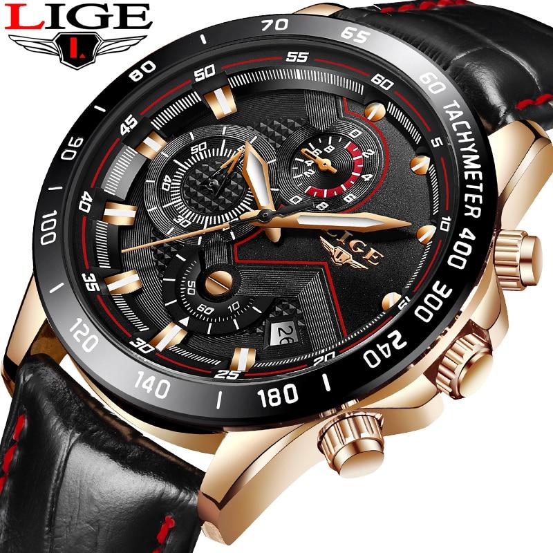 965364149ab9 Reloj de pulsera deportivo militar a prueba de agua de cuero de moda para  hombre