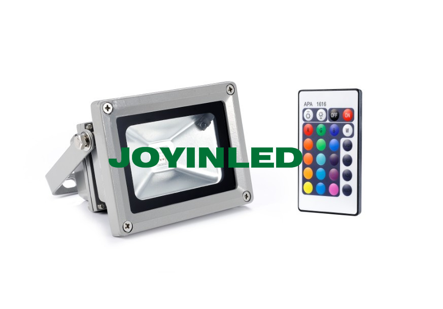 10pcsHigh power led RGB flood lights10W RGB Remote Control led floodlight waterproof outdoor led lighting lamps with controller