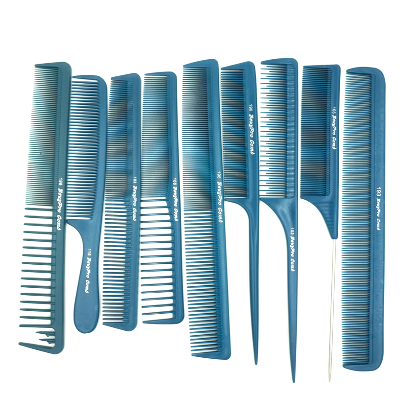 Professional Hair Barber Cutting Comb 9 Pcs/lot Blue Color Antistatic Hairdressing Comb BY-09 For Hairstlylist Heat Resistant