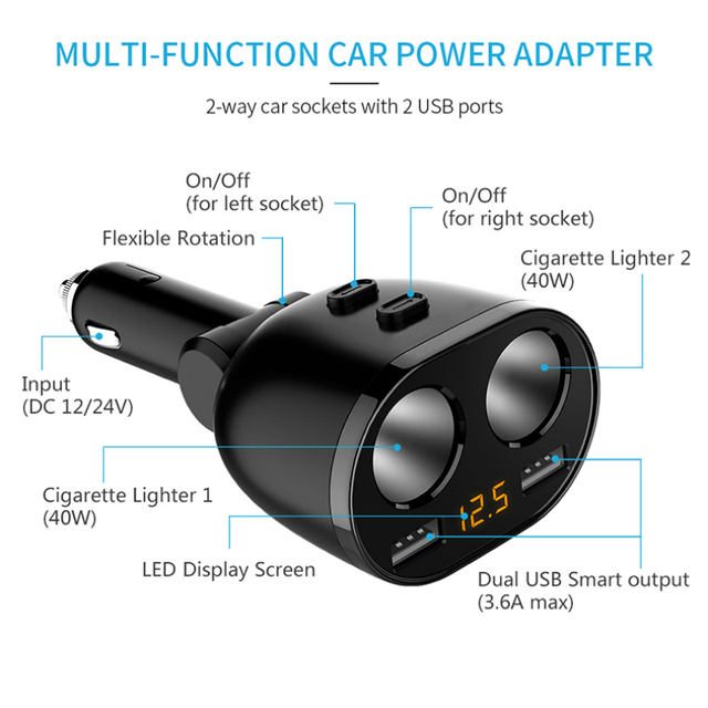 KORSEED 2 Port 12V-24V Car Cigarette Lighter Socket Splitter Power Dual USB Car Charger for iPhone Samsung Xiaomi GPS DVR Cam