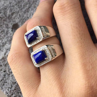 Natural Lapis Lazuli Stone Silver 925 Rings Men 100% 925 Sterling Silver & Real Stone Elegant Mens Ring With Certificate Gift