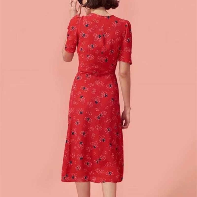Vestido veraniego para señora, Sexy vestido veraniego clásico para señora, con estampado Floral, cuello en pico, ceñido con cordones, para playa y cwd0044-5