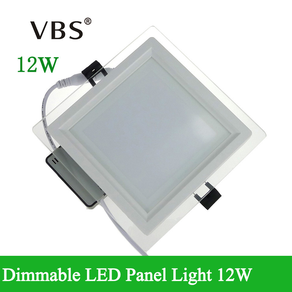 цены Super Bright Dimmable LED Panel Downlight 12W Glass Ceiling Lamp LED Recessed Lights Square Spot LED Lighting Bulb 110V 220v