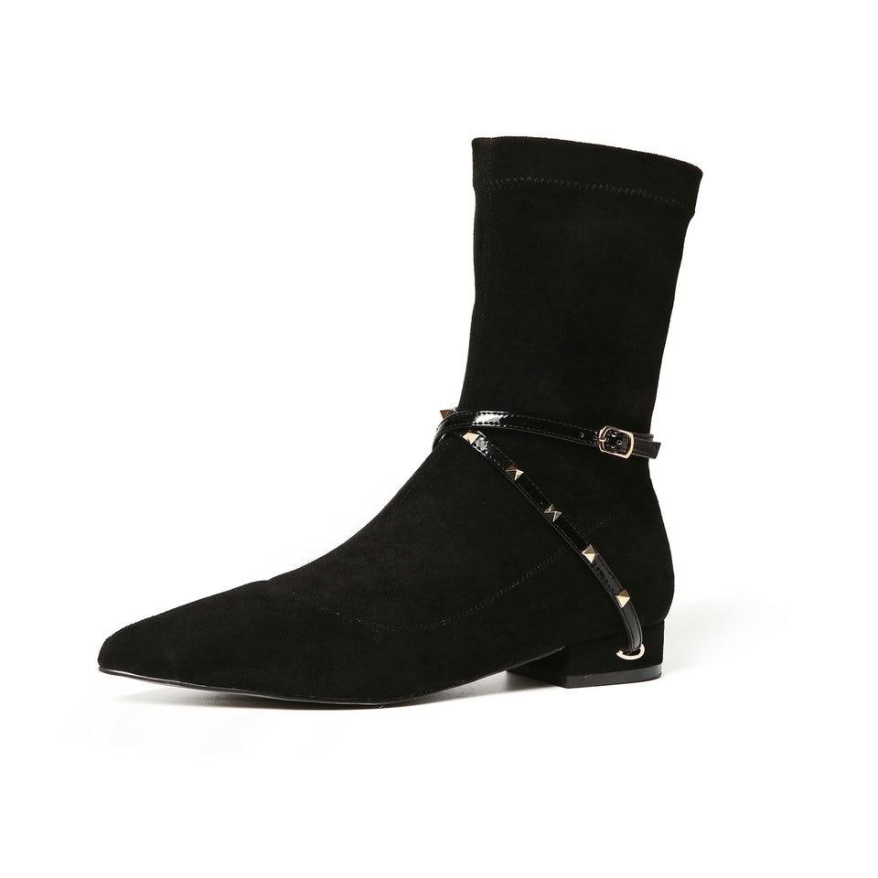 forme 40 En Bas Taille Cuir Boot Chaussures Kase Pu Talons Carrés Noir mo Femme Automne Eshtonshero Femmes Bottes Noir 33 Dames Cheville Moto Plate c4qwx0OTR8