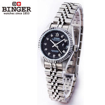 Fashion Brand Binger Steel Band Women Men Skeleton Automatic Mechanical Watch  Dress CZ Diamond Black Dial Enlarge Wrist Watches original binger mans automatic mechanical wrist watch date display watch self wind steel with gold wheel watches new luxury