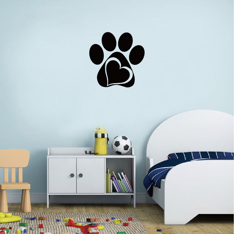 Cartoon Funny Cat Dog Paws Sticker Animal Footprints Wall Stickers Kids Room DIY Decoration Furniture Cabinets  Home Decor