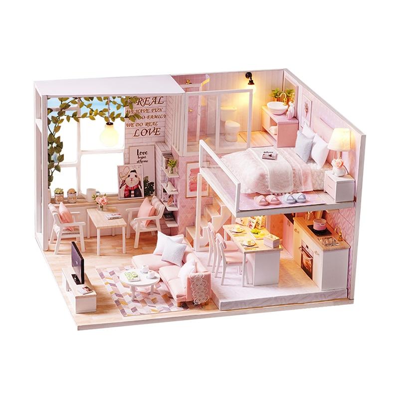 Mini maison poupées Miniature maison de poupée vie tranquille rose amour maison bricolage maisons modèles jouets garçons filles saint valentin cadeaux L022