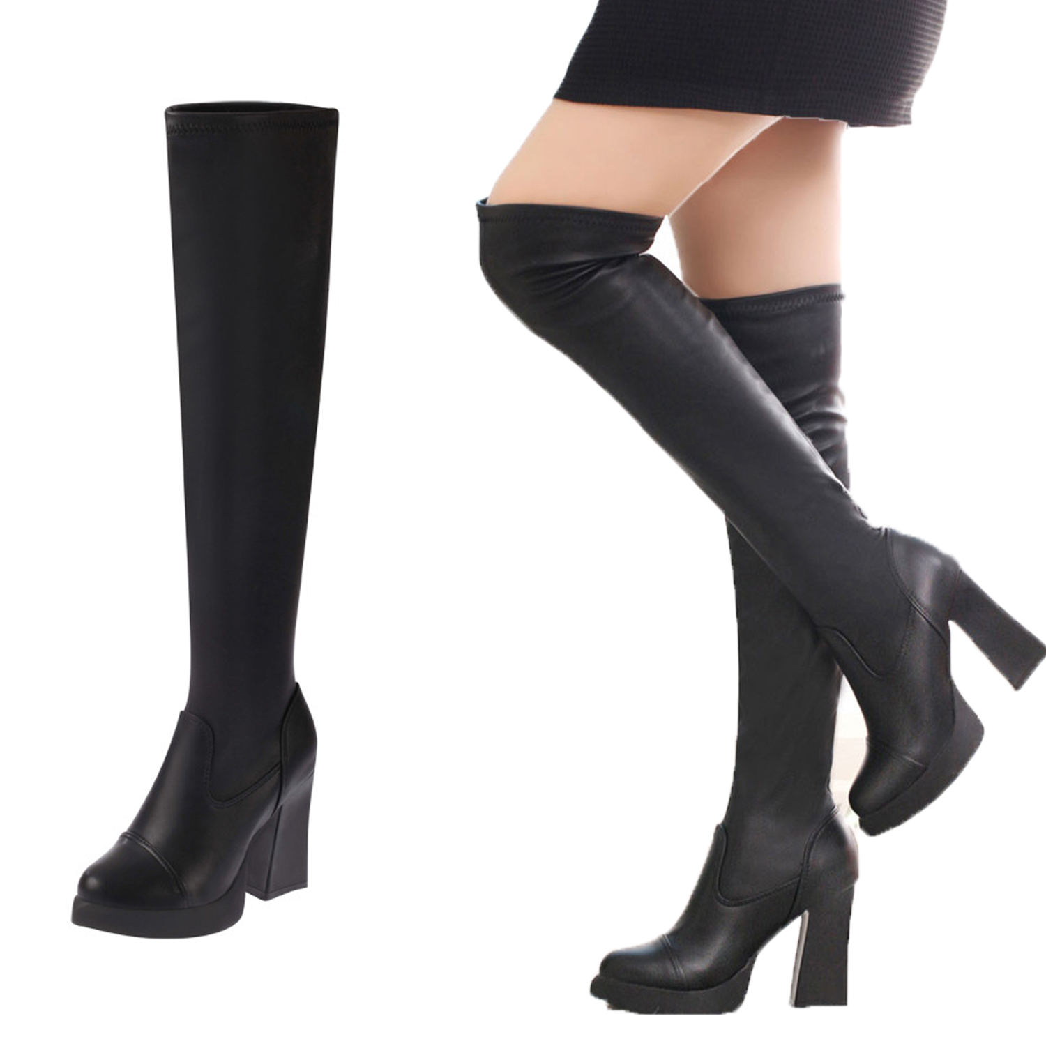 25c4e9428af1 Women Over Knee Boots Fashion Long Boot Winter Footwear Sexy Snow Warm  Thick Plus velvet High Heel Shoes Black High Quality-in Knee-High Boots  from Shoes