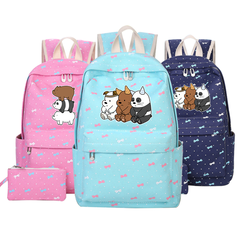 We Bare Bears cute Bear Canvas bag backpack Girls women Student School Bags Cartoon travel Shoulder Travel Bags for Teenage 16 inch anime teenage mutant ninja turtles nylon backpack cartoon school bag student bags double shoulder boy girls schoolbag page 5