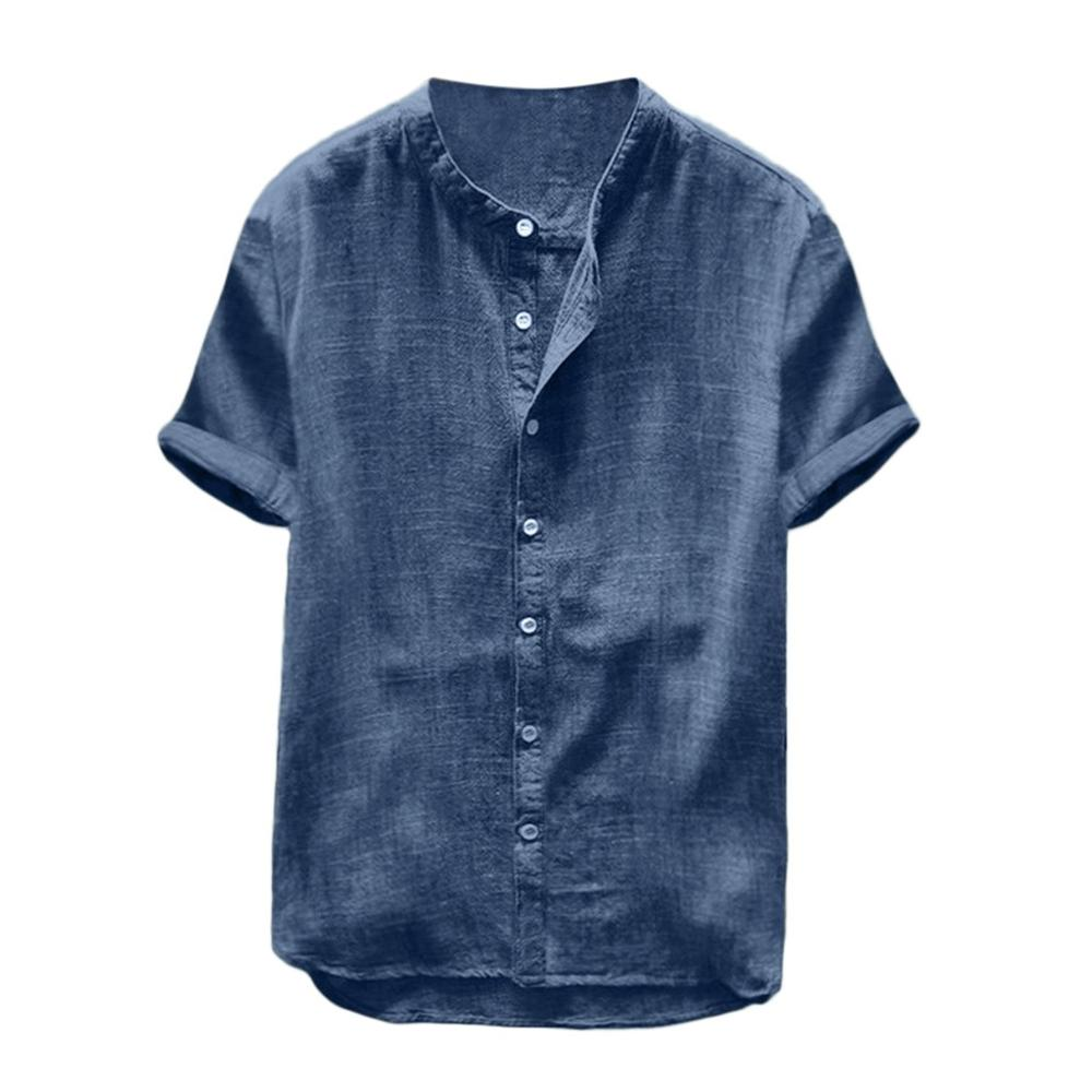 New Cotton Linen <font><b>Men</b></font> <font><b>Shirt</b></font> <font><b>Summer</b></font> Casual Chemise Homme Solid Color Short Sleeve Stand Collar Retro Loose <font><b>Mens</b></font> <font><b>Shirts</b></font> Tops Blouse image