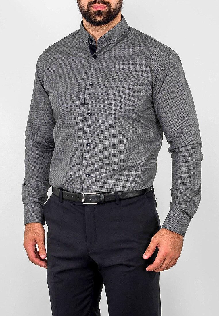 Shirt men's long sleeve GREG 323/139/1143/Z/P/B/1 Gray plus size bird and floral print v neck long sleeve t shirt
