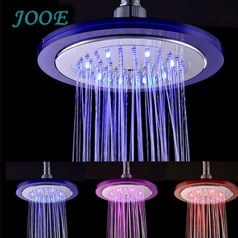 inch duchas led colores rainfall square abs plastic chrome finishing shower head wall mounted round