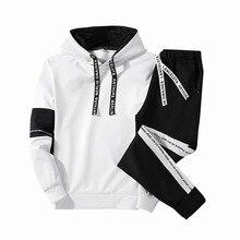 Плюс размер Пальто Мужчины Набор Одежда Толстовки + Брюки Наборы Толстовка Хлопок Повседневная Лоску