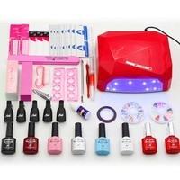 6 Color Nail Gel Varnish Polish Manicure Set With UV Lamp LED Nail Dryer Nail Art