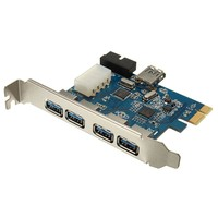 Brand New PCI E Express Adapter 4 1 Port USB 3 0 HUB Internal Expansion Card