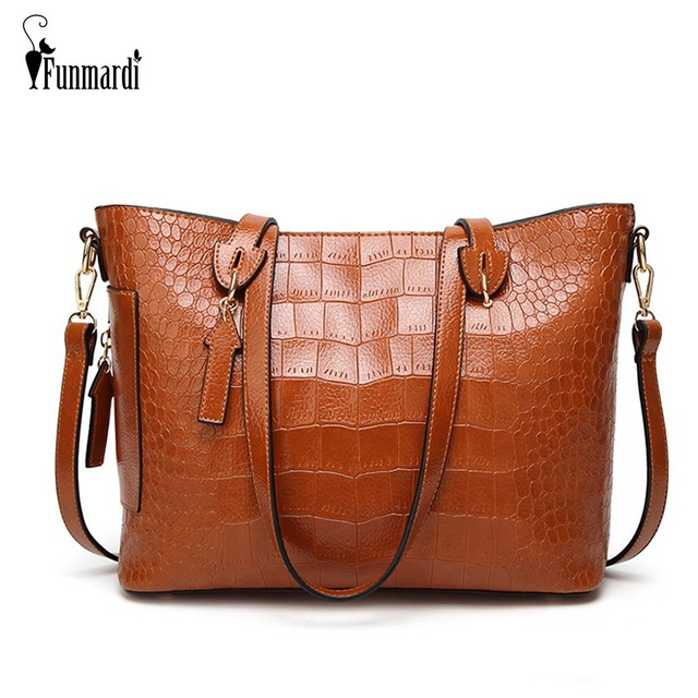 851891e0e8f6 FUNMARDI Luxury Handbag Women Bags Designer Crocodile Ladies Shoulder Bag  Vintage Oil Wax Leather Handbag Crossbody Bag WLHB1779