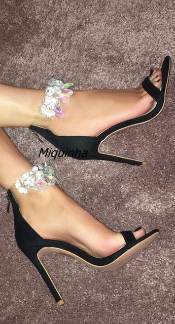 aa3ff9d52 Latest Design Rhinestone Black Suede Stiletto Heel Dress Sandals Crystal  Ankle Wrap High Heel Shoes Sexy Open Toe Band-let Heels