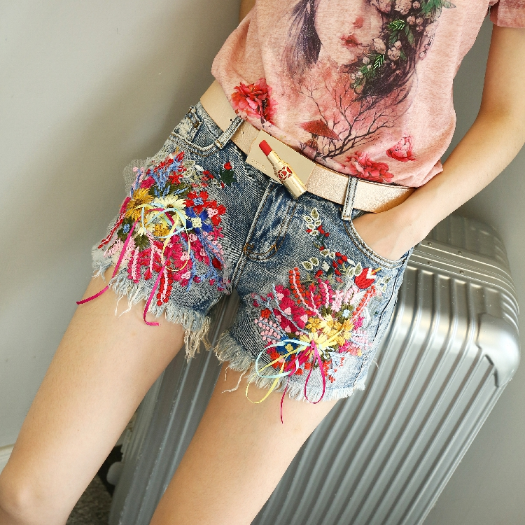 QA1202 Pantalon corto mujer new arrival brand quality embroidery sequin denim   shorts   women summer jeans