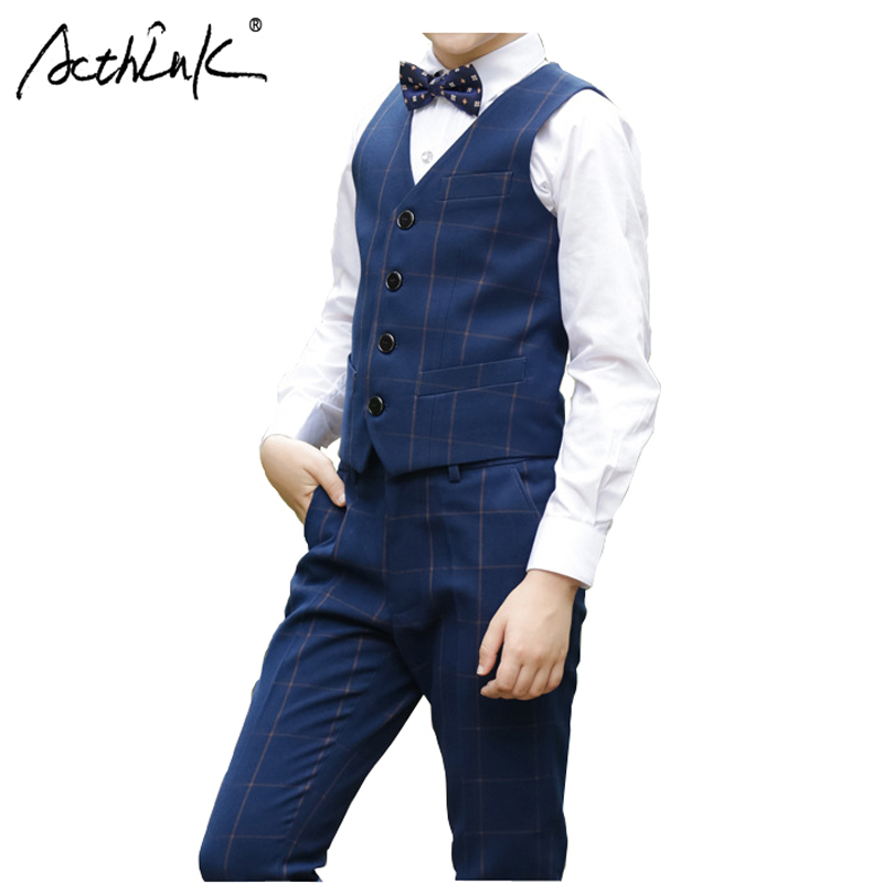 ActhInK New 4Pcs Boys Plaid Wedding Suits Top Quality Children Formal Costume Suit for Graduation Kids Formal Suits with Bowtie acthink new boys summer formal 3pcs shirt shorts waistcoat suit children england style wedding suit with bowtie for boys zc033