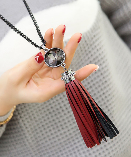 New trendy leather tassel long necklaces & pendants gift s