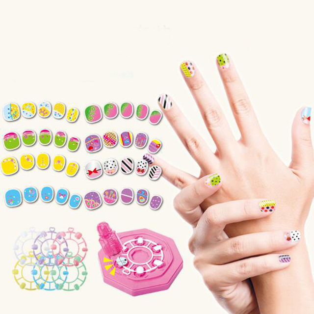 1set Diy Waterproof Manicure Kids Sticker Nail Art Makeup Toys For