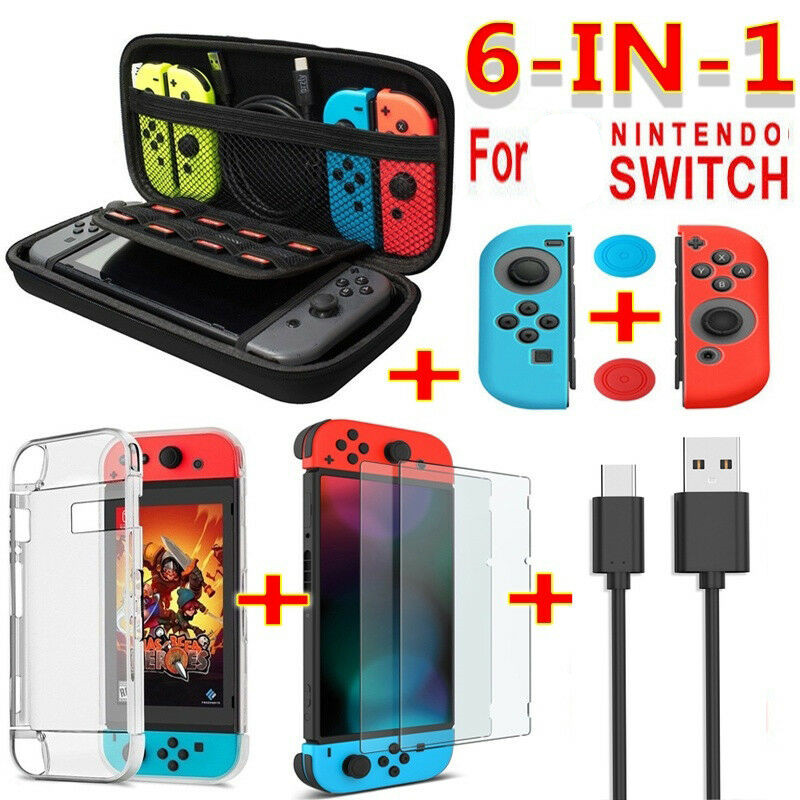 6 in 1 game accessory set Black red blue For Nintend Switch Travel Carrying Bag Screen Protector Case Charging Cable(China)