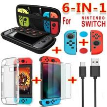 Capa de transporte protetor de tela para interruptor Nintendo, conjunto de acessório preto vermelho azul jogo 6 em 1, cabo de carregador