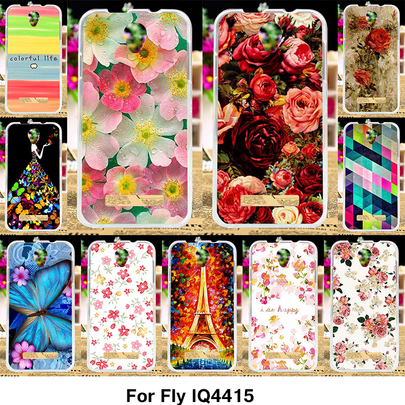 TAOYUNXI Silicone Phone Cover Case for Fly IQ4415 quad Era Style 3 IQ 4415 4.5 inch Case Soft TPU Cover Peony Flower Rose