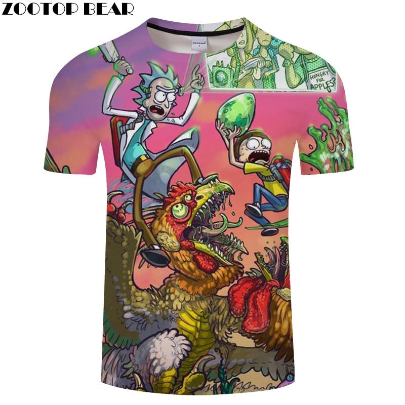 Cartoon t-shirt Rick and Morty tshirt 3D t shirt Mens Tee Funny Camiseta Male 6XL Top Streatwear ShortSleeve Dropship ZOOTOPBEAR