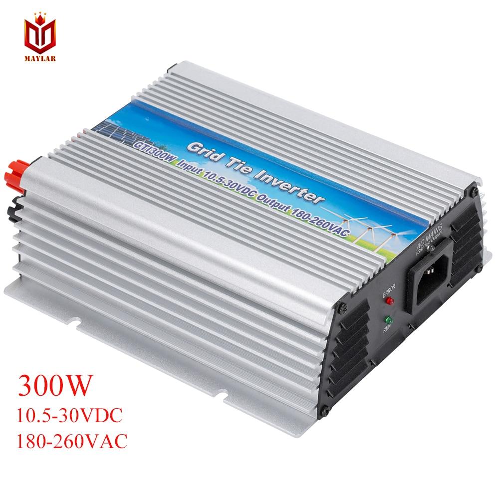 MAYLAR@ 300W Solar Grid Tie Mini Pure Sine Wave Inverter With MPPT,10.5-28VDC,50Hz/60Hz Automatically ,180-260VAC 300w grid tie inverter 22 60vdc input pure sine wave 190 260vac or 90 140vac output mppt battery wind solar on grid inverter