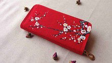 Ms. zipper wallet 2016 new hand-painted folk style Hot Features plum red clutch 21 * 10 * 3cm high-capacity