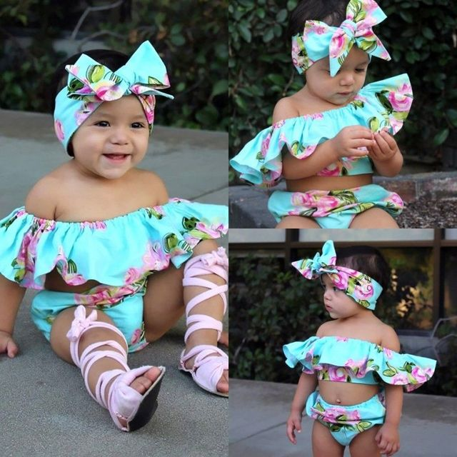 3PCS Summer Baby Girl Clothes Off-Shoulder Floral Ruffle Romper Shorts Headband Sunsuit Outfits Clothing Set