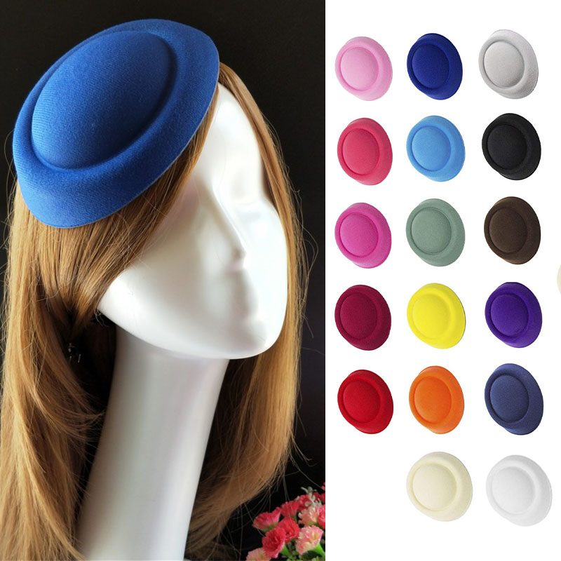 Women Mini Top Hat Lady Stewardess Pillbox Hat Fascinator Millinery Hat Base Wedding Party Headwear Craft Making Supplies