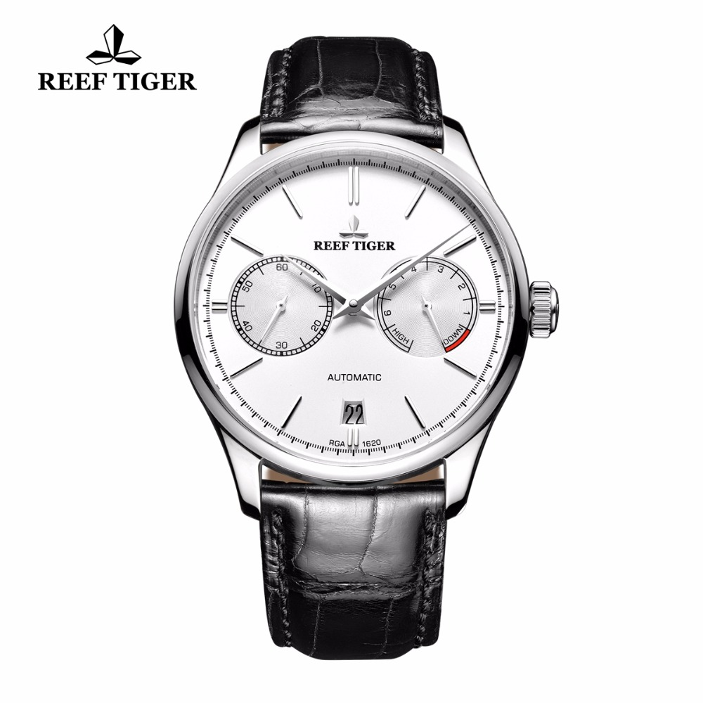 Reef Tiger/RT Casual Elegant Watches Date Steel Watch with Power Reserve Automatic Watch For Men RGA1620 2x yongnuo yn600ex rt yn e3 rt master flash speedlite for canon rt radio trigger system st e3 rt 600ex rt 5d3 7d 6d 70d 60d 5d
