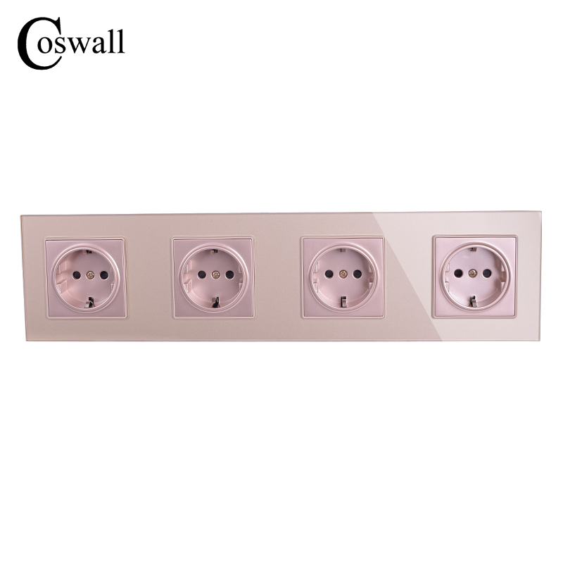 COSWALL Wall Crystal Glass Panel 4 Way Power Socket Grounded Gold 16A EU Standard Electrical Quadruple Outlet 344mm * 86mmCOSWALL Wall Crystal Glass Panel 4 Way Power Socket Grounded Gold 16A EU Standard Electrical Quadruple Outlet 344mm * 86mm