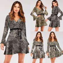 Женское леопардовое платье из змеиной кожи с длинным рукавом