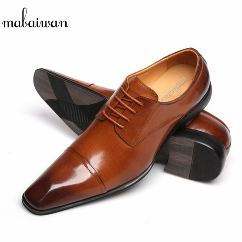 Mabaiwan New Brown Formal Men Dress Wedding Derby Shoes Lace Up Oxford Genuine Leather Luxurious Shoes Men Indian Business Flats men genuine flats leather shoes luxury business brown black lace up dress shoe men large size wedding shoes 899