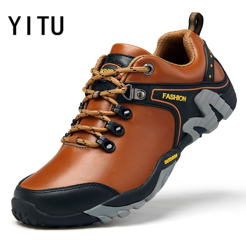 YITU Outdoor Sneakers Men s Leather Hiking Shoes Breathable Mountain Trekking Shoes Non slip Sports Sneakers
